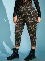 Plus Size Camo Distressed High Waisted Skinny Jeans -