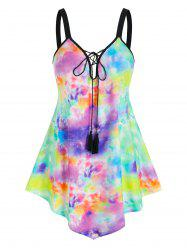 Plus Size Tassel Tie Dye Lace Up Tank Top -