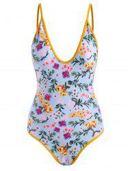 Contrast Binding Floral Backless One-piece Swimsuit -