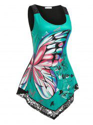 Plus Size Butterfly Pattern Lace Panel Uneven Hem Tank Top -