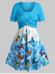 Plus Size Butterfly Floral Print Crossover Dress -