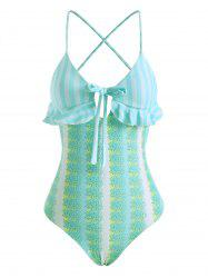 Striped Floral Lace Up Bowknot Ruffle One-piece Swimsuit -
