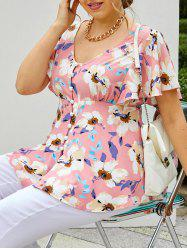 Plus Size Flower Butterfly Sleeve Loop Button Tunic Blouse -