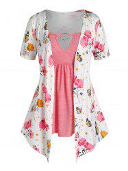 Plus Size O Ring Butterfly Flower Print 2 in 1 T Shirt -