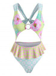 Flower Star Twisted O Ring Cutout Peplum One-piece Swimsuit -