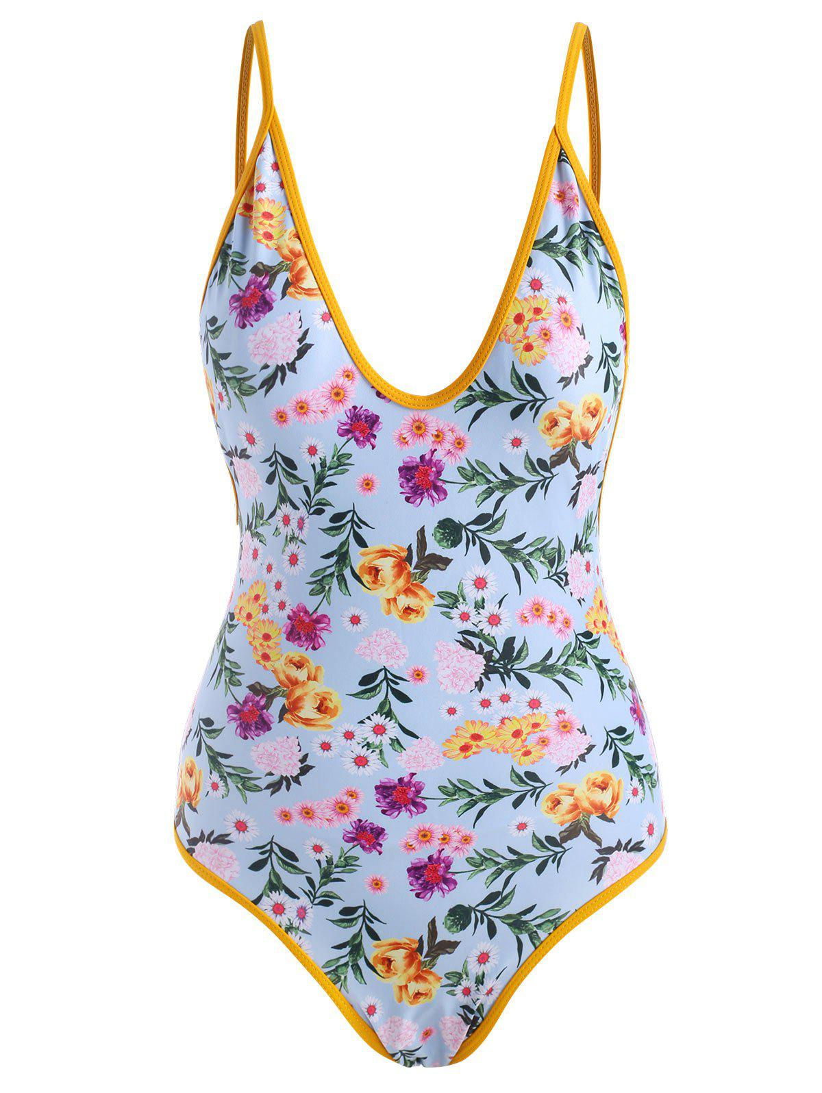 Affordable Contrast Binding Floral Backless One-piece Swimsuit