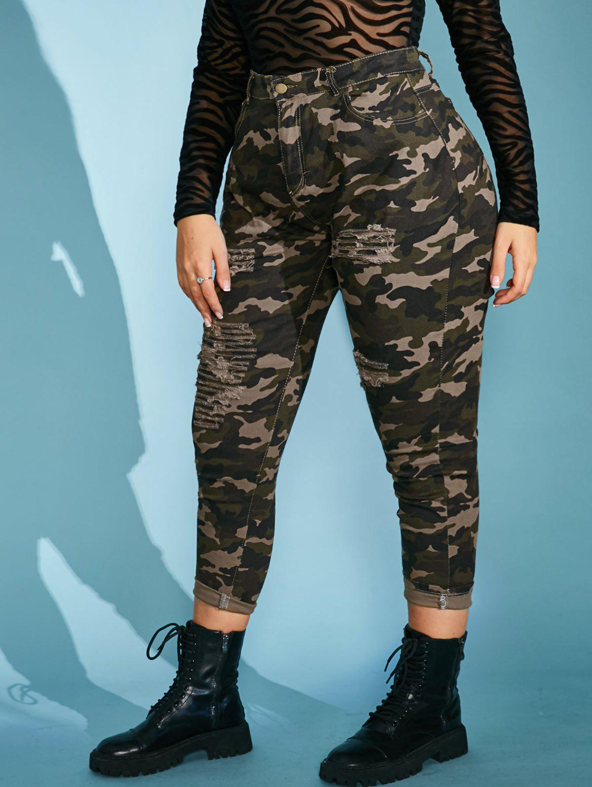 Online Plus Size Camo Distressed High Waisted Skinny Jeans