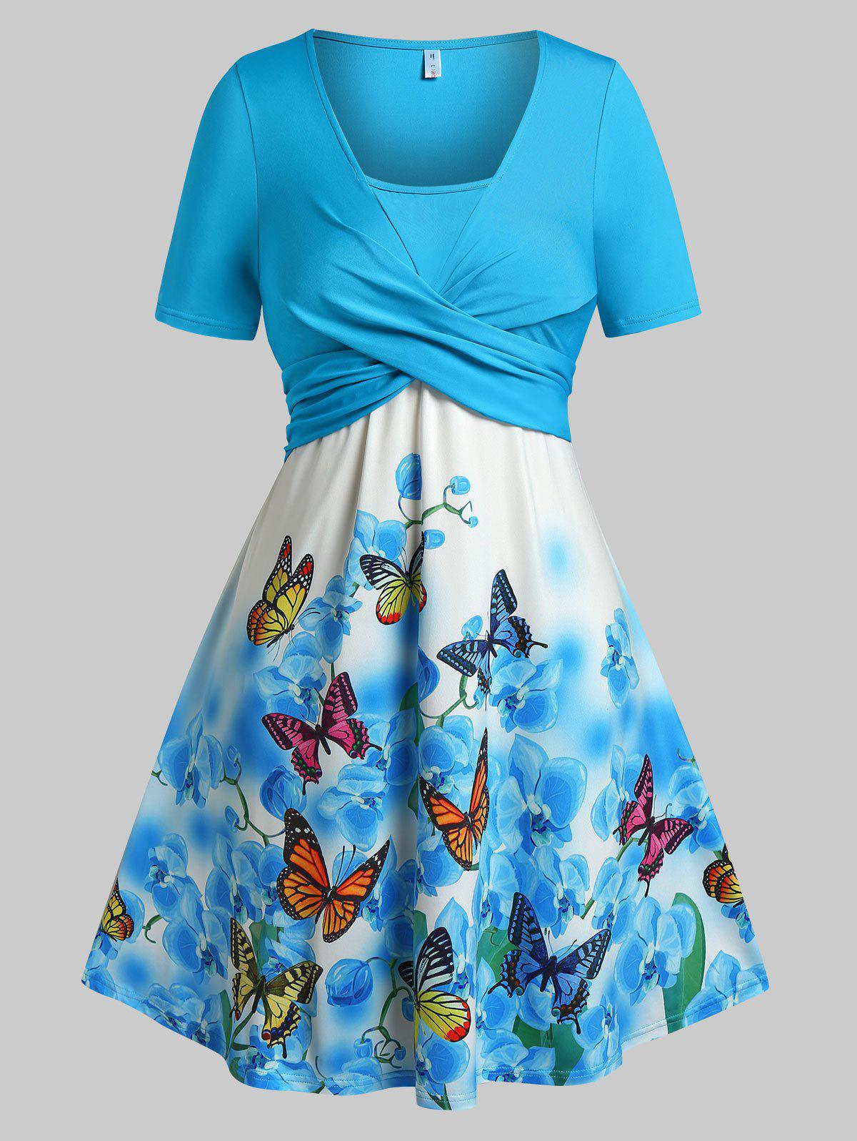Affordable Plus Size Butterfly Floral Print Crossover Dress