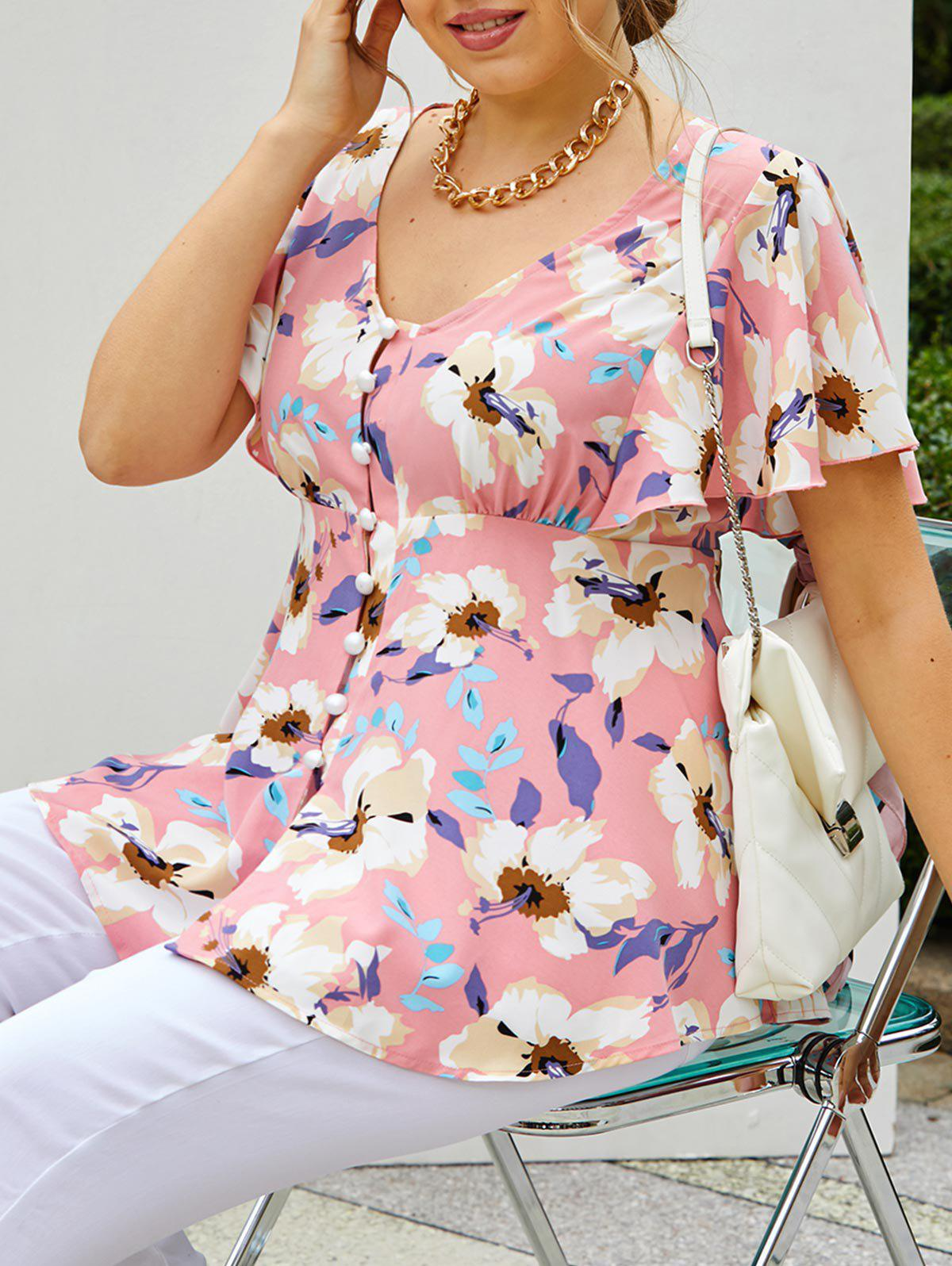 Outfits Plus Size Flower Butterfly Sleeve Loop Button Tunic Blouse