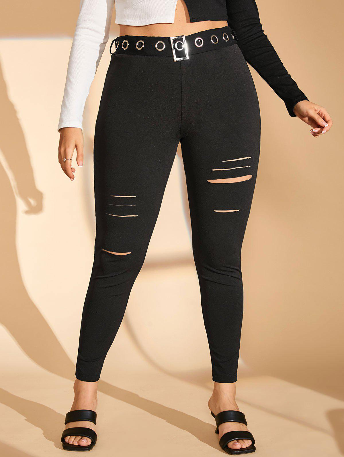 Fashion Grommet Buckled-belt Ladder Cutout Plus Size Skinny Pants