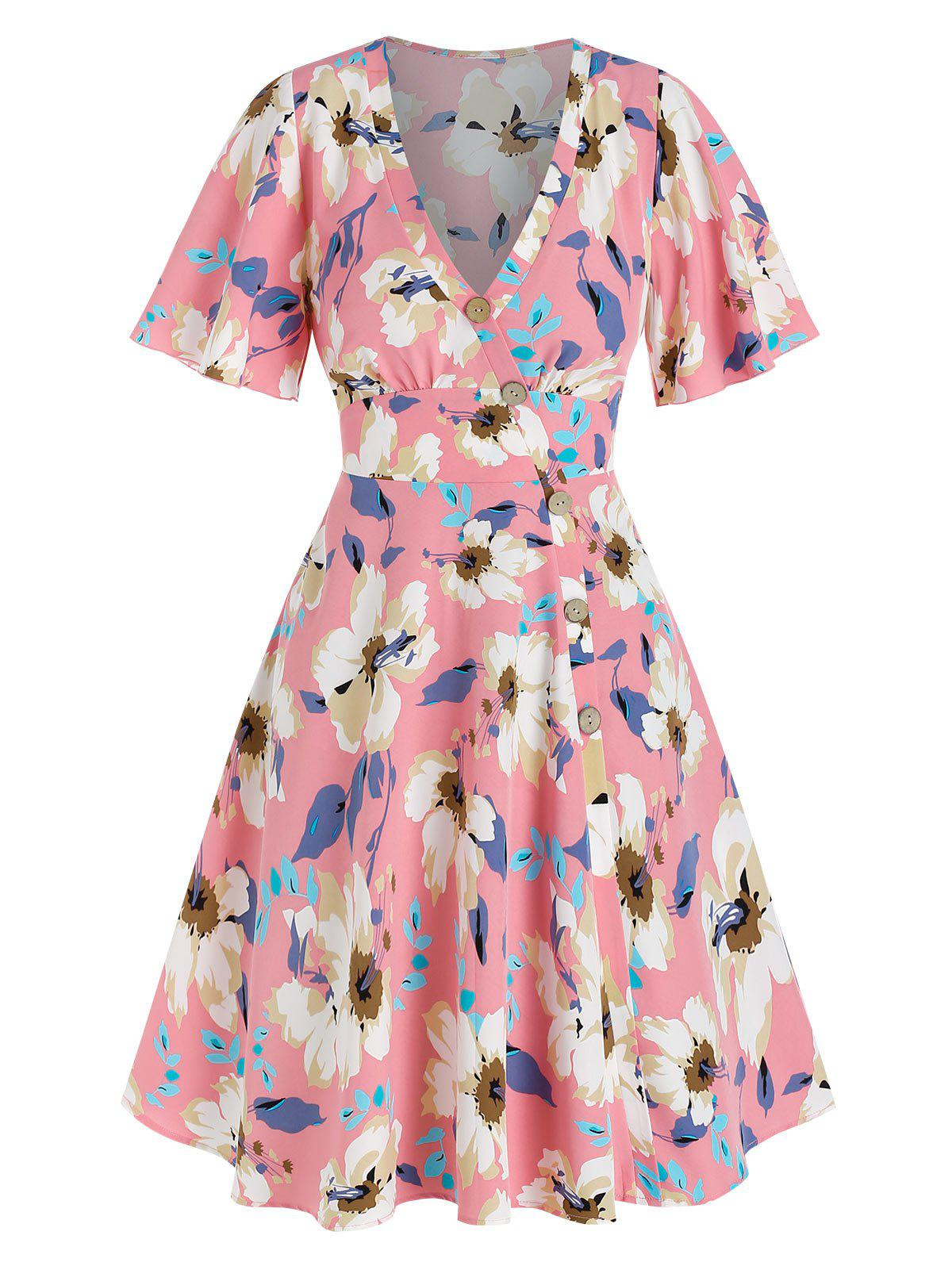 Affordable Flower Printed Buttons Asymmetric Dress