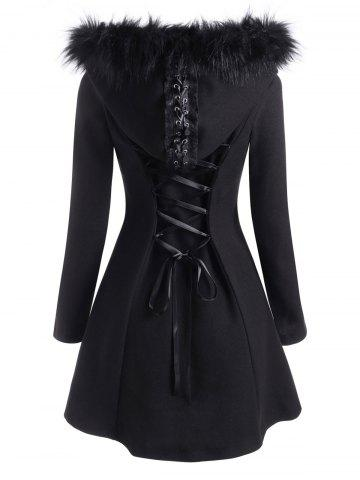 Lace Up Faux Fur Hooded Button Up Coat