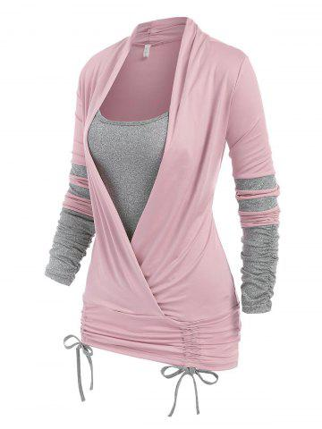 Long Sleeve Cinched Contrast Faux Twinset T-shirt