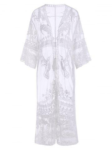 Sheer Lace Tie Waist Beach Cover Up - WHITE - ONE SIZE