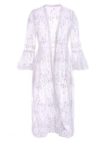 Floral Sheer Mesh Flare Sleeve Beach Cover Up - WHITE - ONE SIZE
