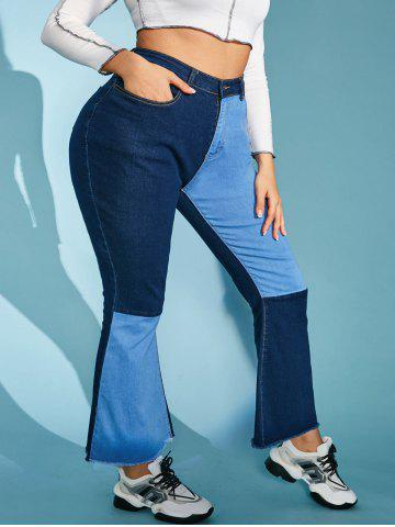 Plus Size Contrast Two Tone Frayed High Rise Flare Jeans - BLUE - XL
