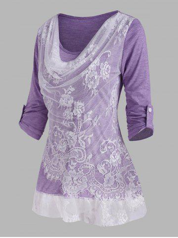 Lace Panel Cowl Front Roll Up Sleeve T Shirt - PURPLE - XXL