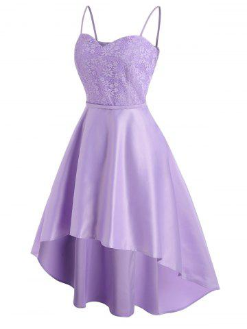 Robe Fleur en Dentelle à Bretelle à Ourlet Pendant - LIGHT PURPLE - 2XL