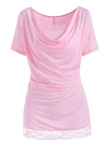 Plus Size Draped Lace Hem Tunic T-shirt with Tube Top Set - LIGHT PINK - 5XL