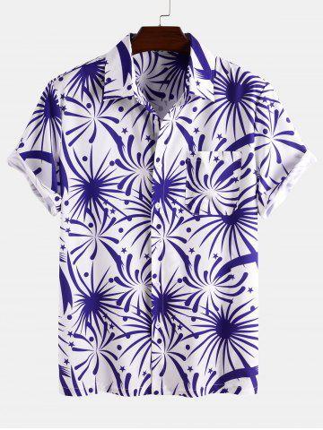 Firework Print Short Sleeve Shirt - BLUE - 3XL