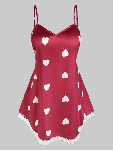 Plus Size Lace Heart Pattern Cami Tank Top - RED - L