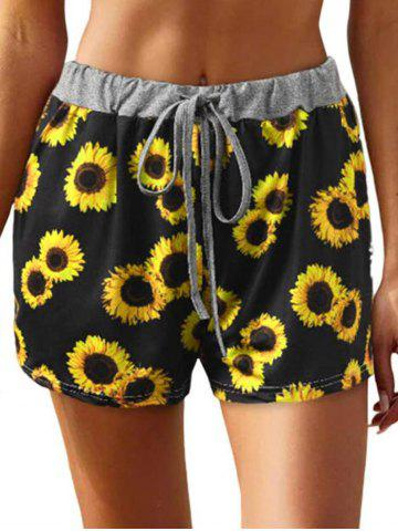 Drawstring Contrast Waistband Sunflower Print Shorts