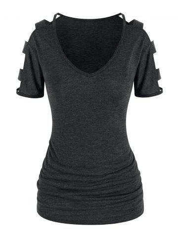 Cut Out Sleeve Ruched T Shirt - GRAY - XXXL