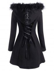 Lace Up Faux Fur Hooded Button Up Coat -
