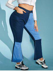 Plus Size Contrast Two Tone Frayed High Rise Flare Jeans -