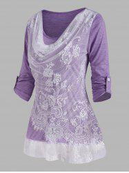 Lace Panel Cowl Front Roll Up Sleeve T Shirt -