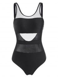 Backless Mesh Insert One-piece Swimsuit -