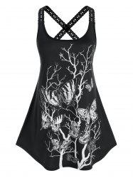 Plus Size Butterfly Branch Print Lace Crochet Crisscross Tank Top -