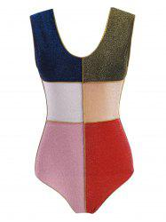 Colorblock Sparkly Metallic Thread One-piece Swimsuit -