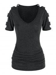 Cut Out Sleeve Ruched T Shirt -