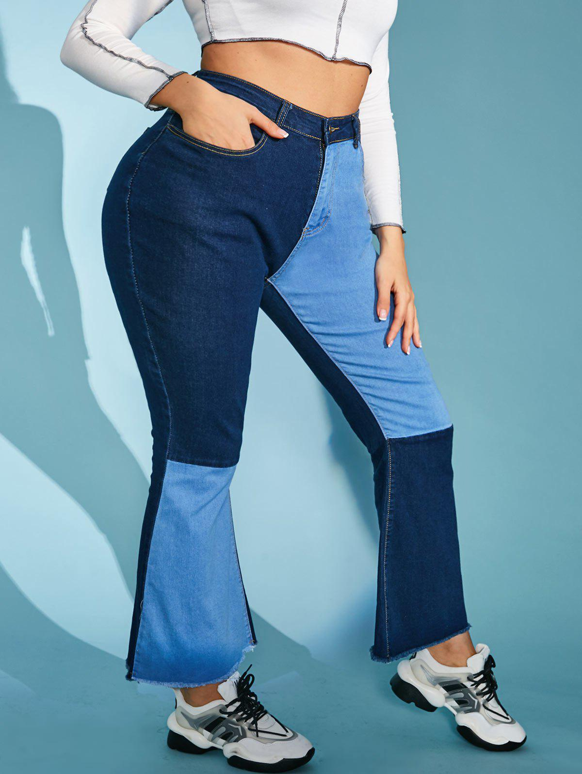 Hot Plus Size Contrast Two Tone Frayed High Rise Flare Jeans