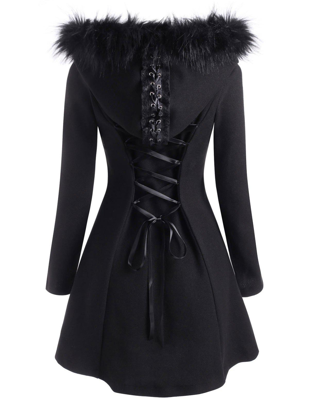 Buy Lace Up Faux Fur Hooded Button Up Coat