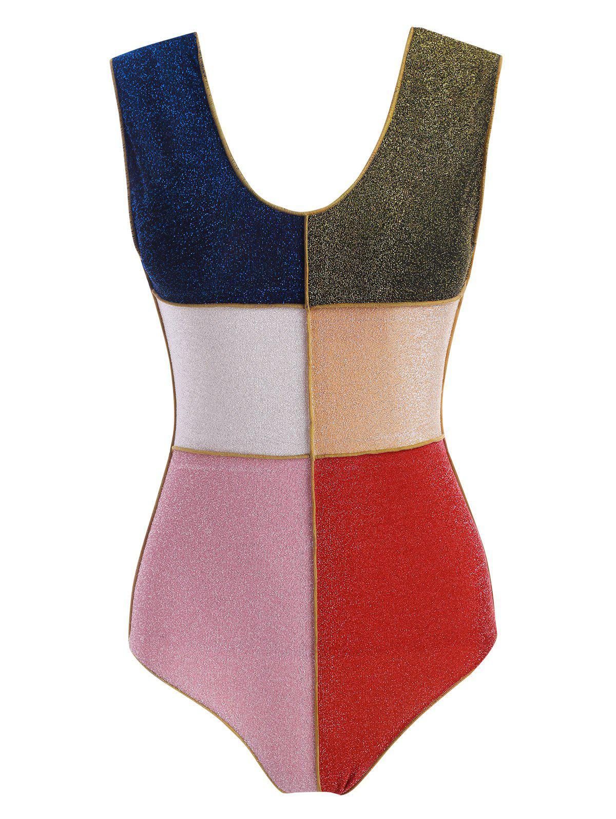 New Colorblock Sparkly Metallic Thread One-piece Swimsuit