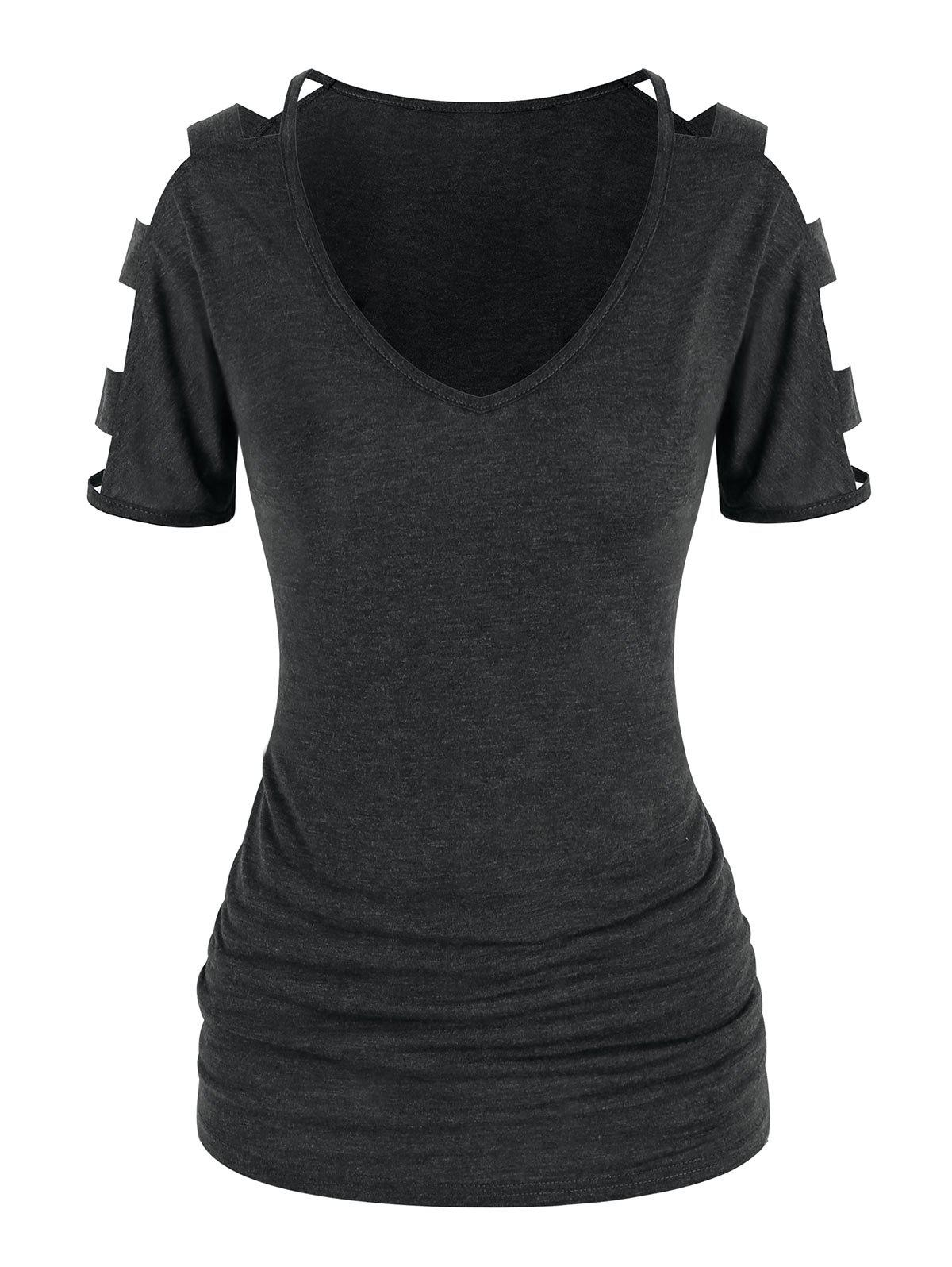 Affordable Cut Out Sleeve Ruched T Shirt