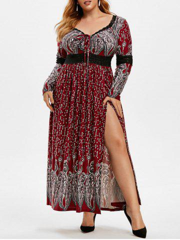 Plus Size Lace Insert Lace-up Slit Maxi Dress - RED WINE - 1X