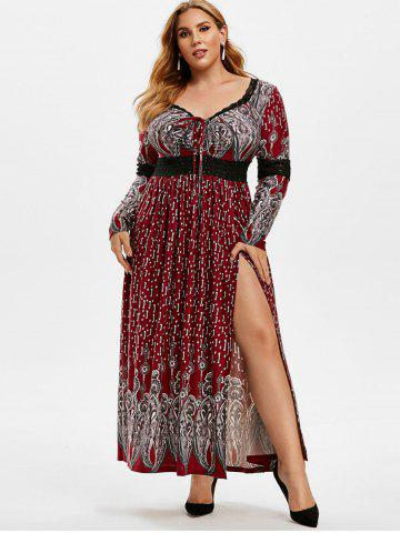 Plus Size Lace Insert Lace-up Slit Maxi Dress