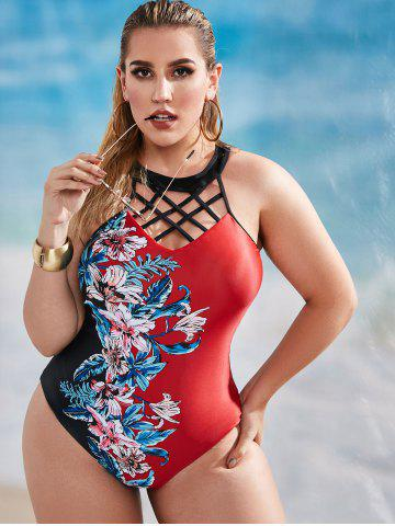 Plus Size High Neck Floral Lattice One-piece Swimsuit