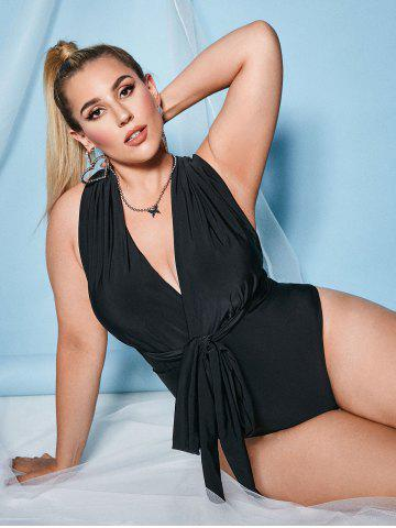 Plus Size Surplice Open Back Criss Cross One-piece Swimsuit