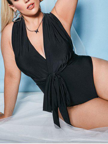Plus Size Surplice Open Back Criss Cross One-piece Swimsuit - BLACK - 3XL