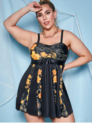 Ruched Front Floral Skirted Plus Size Tankini Swimwear
