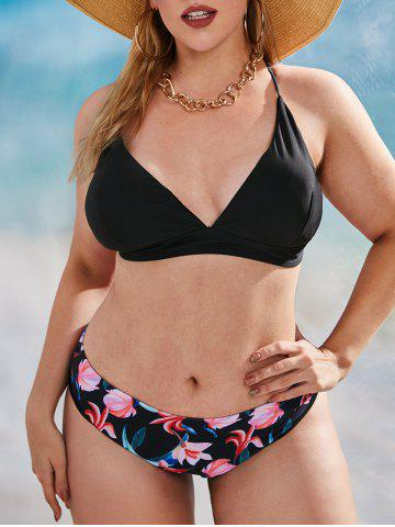 Plus Size Flower Print Criss Cross Bikini Swimwear - BLACK - 4XL