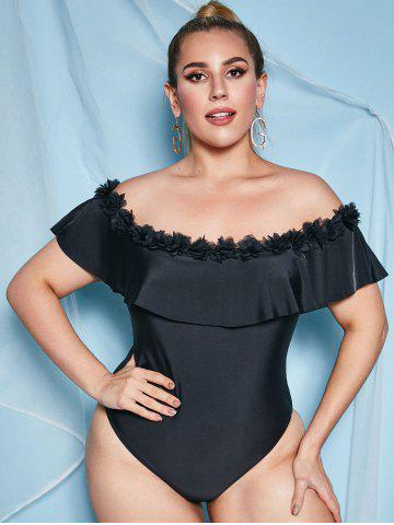 Plus Size Flower Petal Off Shoulder One-piece Swimsuit
