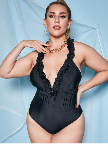 Plus Size Frilled Open Back Plunge One-piece Swimsuit