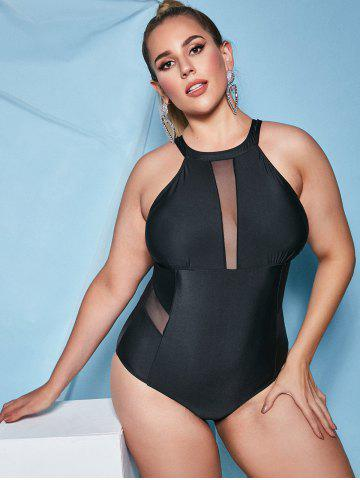 Plus Size Mesh Insert Backless One-piece Swimsuit