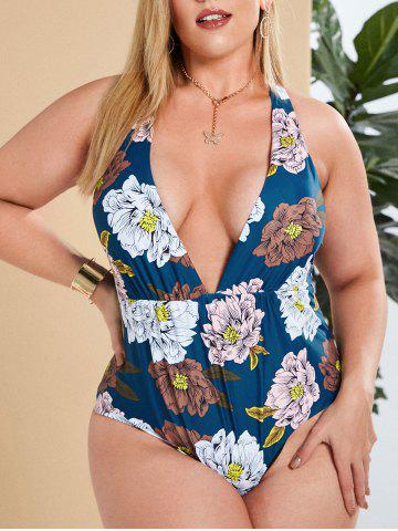Plus Size Flower Cross Lace-up Plunging One-piece Swimsuit
