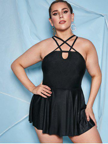 Plus Size Caged Cutout Skirted One-piece Swimsuit